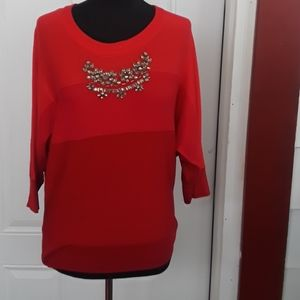 Xoxo Embellished Red Sweater Back Buttons Size L